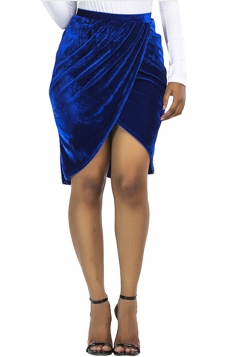 Womens Sexy Slit Pleated Midi Bodycon Skirt Sapphire Blue