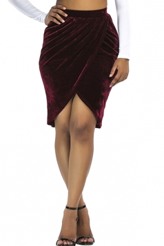 Womens Sexy Slit Pleated Midi Bodycon Skirt Ruby