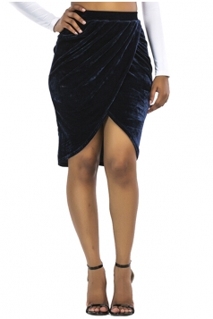 Womens Sexy Slit Pleated Midi Bodycon Skirt Navy Blue Blue