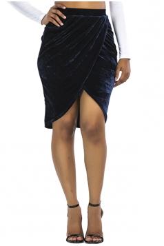 Womens Sexy Slit Pleated Bodycon Pencil Skirt Navy Blue