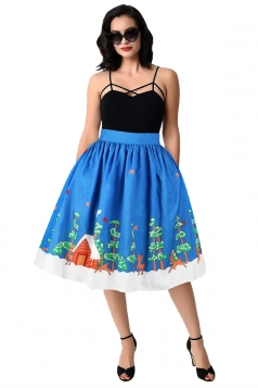 Womens Christmas Tree And Reindeer Printed Pleated Skirt Blue