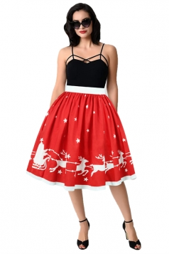 Womens Christmas Sleigh And Reindeer Printed Pleated Skirt Coral