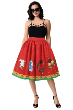 Womens Cute Christmas Printed Pleated Skirt Orange Red