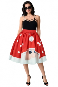 Womens Cute Christmas Santa Claus Printed Pleated Skirt Red