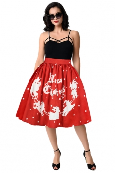 Womens Cute Christmas Sleigh Printed Pleated Skirt Watermelon Red