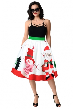 Womens Christmas Santa And Snowman Printed Pleated Skirt White