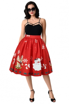 Womens Christmas Snowflake Santa Reindeer Printed Pleated Skirt Ruby