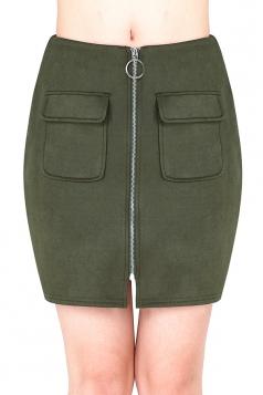 Womens Close-Fitting Zipper Pockets Plain Pencil Skirt Army Green