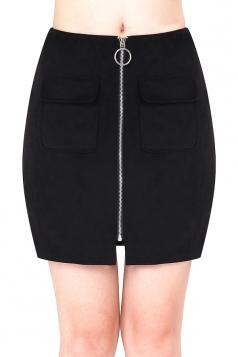 Womens Close-Fitting Zipper Pockets Plain Pencil Skirt Black
