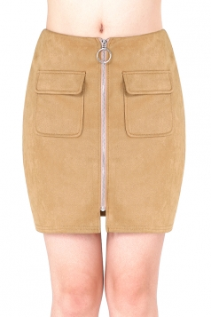 Womens Close-Fitting Zipper Pockets Plain Pencil Skirt Camel