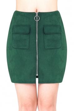 Womens Close-Fitting Zipper Pockets Plain Pencil Skirt Dark Green