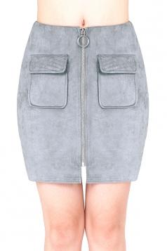Womens Close-Fitting Zipper Pockets Plain Pencil Skirt Gray