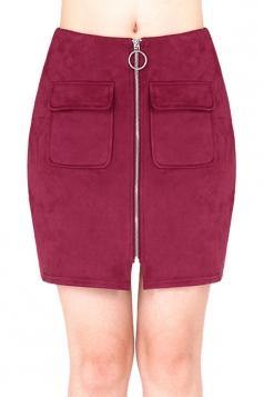 Womens Close-Fitting Zipper Pockets Plain Pencil Skirt Ruby