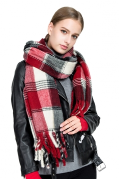 Womens Warm Fringe Tartan Pattern Plaid Scarf Ruby