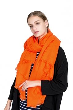 Womens Casual Tassel Shawl Plain Scarf Orange Red