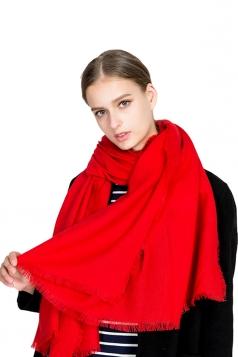 Womens Casual Tassel Shawl Plain Scarf Red