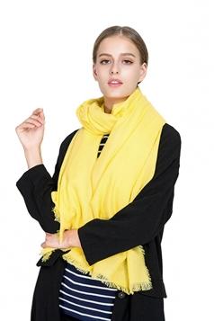 Womens Casual Tassel Shawl Plain Scarf Yellow