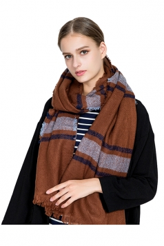 Womens Warm Tassel Colorful Plaid Printed Scarf Brown