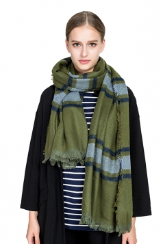 Womens Warm Tassel Colorful Plaid Printed Scarf Green