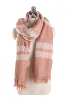 Womens Warm Tassel Colorful Plaid Printed Scarf Pink