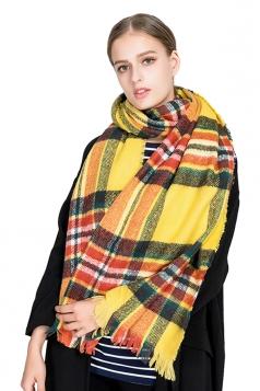 Womens Warm Tassel Colorful Plaid Printed Scarf Yellow