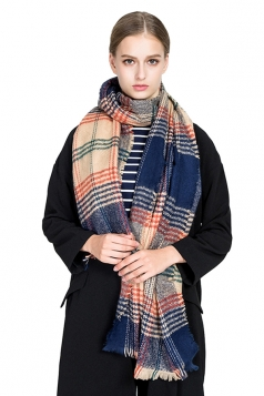 Womens Warm Tassel Colorful Plaid Printed Scarf Navy Blue