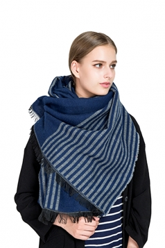 Womens Fashion Fringe Stripes Printed Shawl Scarf Blue