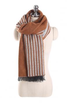 Womens Fashion Fringe Stripes Printed Shawl Scarf Brown