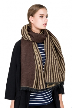 Womens Fashion Fringe Stripes Printed Shawl Scarf Coffee