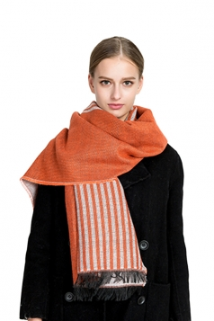 Womens Fashion Fringe Stripes Printed Shawl Scarf Orange