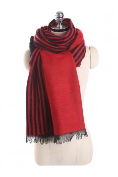 Womens Fashion Fringe Stripes Printed Shawl Scarf Ruby
