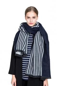 Womens Fashion Fringe Stripes Printed Shawl Scarf Navy Blue
