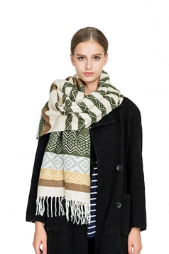 Womens Trendy Tassel Wave Printed Shawl Scarf Green
