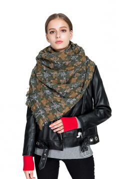 Womens Thicken Houndstooth Printed Shawl Scarf Army Green