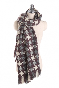 Womens Thicken Houndstooth Printed Shawl Scarf Purple