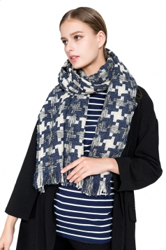 Womens Thicken Houndstooth Printed Shawl Scarf Navy Blue