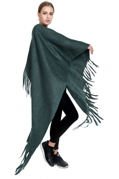 Womens Trendy Tassel Shawl Plain Scarf Green