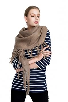 Womens Trendy Tassel Shawl Plain Scarf Khaki