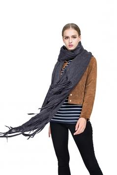 Womens Trendy Tassel Shawl Plain Scarf Purple