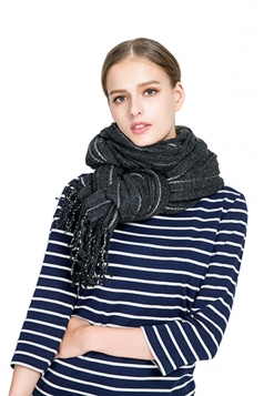 Womens Warm Fringe Shawl Striped Scarf Dark Gray