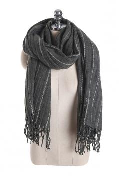 Womens Warm Fringe Shawl Striped Scarf Gray