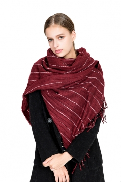 Womens Warm Fringe Shawl Striped Scarf Ruby