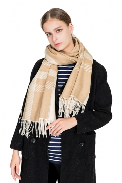 Womens Casual Tassel Shawl Plaid Scarf Apricot