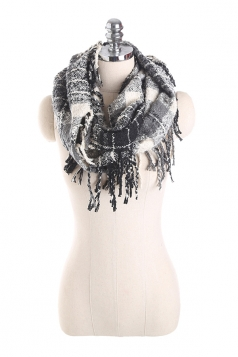 Womens Stylish Fringe Shawl Plaid Scarf Black And White