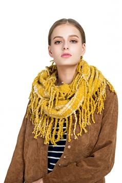Womens Stylish Fringe Shawl Plaid Scarf Yellow