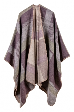 Womens Thicken Both Sides Plaid Pattern Shawl Poncho Light Purple