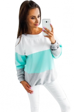 Womens Crew Neck Long Sleeve Contrast Color Oversized T-Shirt Blue