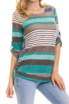 Womens Contrast Color Crew Neck 3/4 Length Sleeve T-Shirt Blue