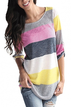 Womens Contrast Color Crew Neck 3/4 Length Sleeve T-Shirt Yellow