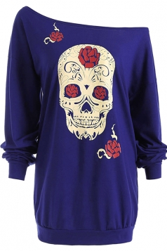 Womens One Shoulder Halloween Skull Printed Long Sleeve T-Shirt Blue